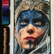 Mi Proyecto del curso:  Retrato realista con lápices de colores HELLBLADE. Un projet de Dessin réaliste de Leonardo Parra - 08.10.2018
