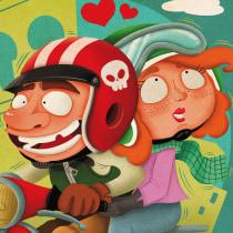 Paseando en moto. Un proyecto de Ilustración, Diseño de personajes, Creatividad, Dibujo e Ilustración digital de Fernando Sala Soler - 13.12.2018