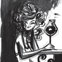 Mujer que tomó algunas copas de vino. A Illustration, Comic, and Drawing project by Jey Castro - 04.05.2019