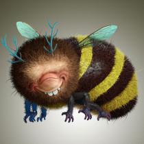 Bee, basado en el trabajo de Stan Manoukian / Grograou. A Design, 3-D, Grafikdesign, Kreativität, 3-D-Modellierung und Videospiele project by Alvaro Obregon - 30.07.2019