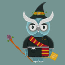 Neo, the wizard owl. A Illustration, Character Design, Vector Illustration, and Digital illustration project by Fred Vega - 03.01.2020