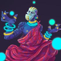 The Neon Prophet Mi Proyecto del curso: Pintura digital de personajes: ilustra con luz y color. Um projeto de Design de personagens, Ilustração digital e Design digital de Felipe Vasconcelos - 03.03.2020