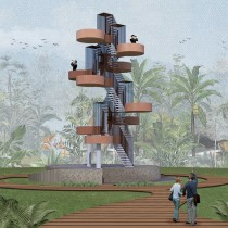 My project in Graphic Representation of Architectural Projects course - Observation Tower . A L, schaftsbau, Digitale Architektur und Architektonische Illustration project by Echa Fadhila - 02.02.2020
