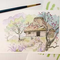 Meu projeto do curso: Ilustração em aquarela com influência japonesa. Un projet de Illustration , et Aquarelle de debofischer - 04.04.2020