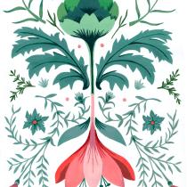 Introducción a la ilustración floral con acrílico, simetría con alcaucil @analopeztextiles. Un proyecto de Diseño, Estampación e Ilustración textil de Ana Lopez - 27.04.2020