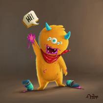 Little Foodie Monster. Um projeto de Ilustração, Ilustração digital e Ilustração infantil de Anvay Chavan - 13.05.2020