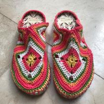 Pantuflas a crochet. A Crafts, and Fiber Arts project by jennydegtz - 05.28.2020