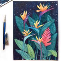 AVES DEL PARAÍSO DE NOCHE: Acuarela botánica en negativo. Un proyecto de Ilustración, Pintura a la acuarela e Ilustración botánica de Alex Vigo - 12.07.2020