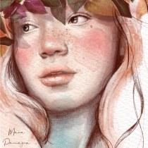 Ofelia (ninfa). Un progetto di Illustrazione, Illustrazione digitale e Illustrazione di ritratto di Maria Paniagua - 12.07.2020
