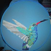 Mi Proyecto del curso: Pintar con hilo: Colibrí pico ancho. Um projeto de Bordado de Cecilia Astudillo - 17.07.2020