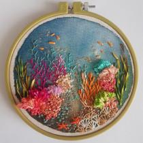 Mi proyecto: un arrecife de coral.. A Aquarellmalerei und Stickerei project by Ana María Herrera Yervis - 22.10.2020