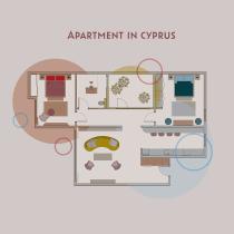 Color applied to Apartment in Cyprus. Un progetto di Architettura, Architettura d'interni, Interior Design e Illustrazione architettonica di Monika - 03.12.2020