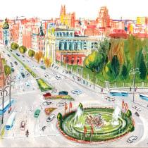 gouache con MARU GODAS. Plaza de Cibeles en Madrid.. Un projet de Peinture gouache de chenza - 21.12.2020