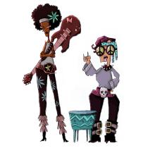 """""""Las 2 Rockeras Hippies y Los 2 Astronautas Circenses"""".. Un proyecto de Ilustración, Diseño de personajes y Dibujo de Jorge Ap - 19.01.2020"""