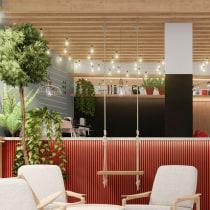 Meadow - inspired youth cafe 'ECHO'. Un proyecto de Arquitectura interior y Diseño de interiores de zuzameduza - 15.02.2021