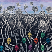 mural de calaveras y sapitos . A Printing project by Katalina Kataplum - 03.25.2021
