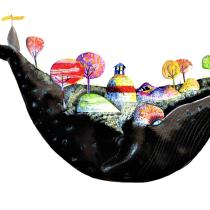 Jona und der grosse Fisch. A Illustration, Collage, Children's Illustration & Ink Illustration project by Nadja Bieri - 03.26.2021
