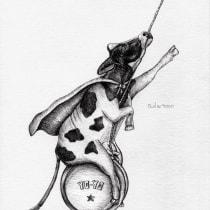Super Cow, going up & down!. Un progetto di Creatività, Disegno, Disegno artistico e Illustrazione con inchiostro di María Martinez Pardo - 02.04.2021