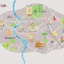 Mi Proyecto del curso: Creación de mapas ilustrados: ROMA. Un proyecto de Ilustración de alejandracienfuegosd - 14.04.2021