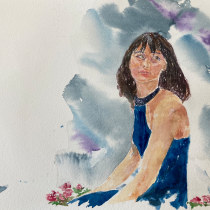 My project in Watercolor Portraits: Capture a Model's Personality course-Inspired by your teachings--thank You. A Illustration project by cappiellolou - 04.25.2021