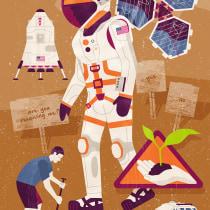 The Martian - Vector and printmaking texture illustration. Un projet de Illustration de John Coe - 29.04.2021