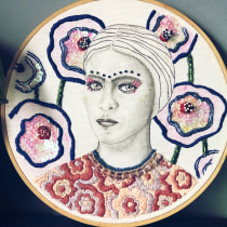 My project in Realistic Portrait Embroidery course. A Stickerei project by Olga Lev - 03.05.2021
