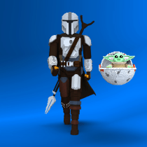 Mando & Grogu Voxel Art. A 3D, Character Design, and 3D Character Design project by Marco Loreto - 05.04.2021