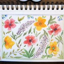 My project in Vibrant Floral Patterns with Watercolors course. Un progetto di Illustrazione, Design Pattern, Pittura ad acquerello e Illustrazione botanica di joconnor3329 - 18.05.2021