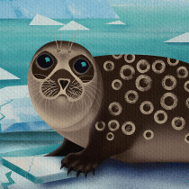 Mein Kursprojekt: Tierweltillustration für Kinderbücher - Die Ringelrobbe. Um projeto de Ilustração vetorial, Ilustração digital e Ilustração infantil de karina_smiller - 23.05.2021