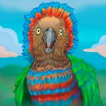 My project in Wildlife Illustration for Children's Books course - Anacã / Red-fan parrot. Um projeto de Ilustração vetorial, Ilustração digital e Ilustração infantil de Guilherme - 21.05.2021