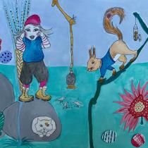 My project in Children's Narrative Illustration with Mixed Techniques course. Un proyecto de Ilustración, Collage, Dibujo a lápiz, Ilustración infantil, Narrativa y Pintura gouache de Marianne Elvan Barfoed - 07.06.2021