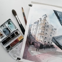 My project in Architectural Sketching with Watercolor and Ink course. A Sketching, Drawing, Watercolor Painting, Architectural illustration, Sketchbook & Ink Illustration project by kerstin.rackerseder - 06.20.2021