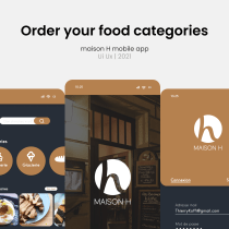 Création d'interfaces mobiles pour l'application d'un restaurant (Maison H). A Design, Interactive Design, Mobile design, and Mobile App Design project by Boris ZIFACK - 06.21.2021