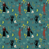 Mi Proyecto del curso: Brujería. Um projeto de Design, Ilustração, Pattern Design e Estampagem de Melissa Ramirez Morgado - 30.06.2021