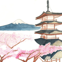 My project in Watercolor Illustration with Japanese Influence course. A Illustration, Drawing, and Watercolor Painting project by Anna W - 07.06.2021