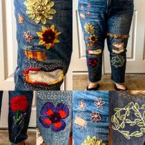 My project in Embroidery: Clothing Repair course. Un proyecto de Moda, Bordado, Costura, DIY, Upc y cling de Crystal Lutton - 03.10.2020
