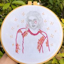 Mi Proyecto del curso: Estampación y bordado de retratos realistas. Un projet de Mode, Illustration de portrait, Broderie, Illustration textile , et Tissage de thaniamillans - 10.07.2021