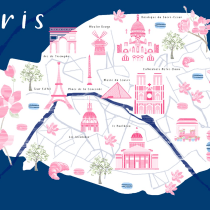 Paris: Creación de mapas ilustrados. Un proyecto de Ilustración, Infografía, Dibujo, Ilustración digital, Dibujo artístico y Pintura digital de Josefina Giavedoni - 03.08.2021