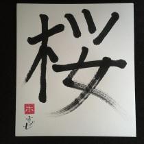 Sakura (Flor del Cerezo). A Kalligrafie, Brush Painting und Kalligrafie mit Brush Pen project by Jose Bermejo - 18.08.2021