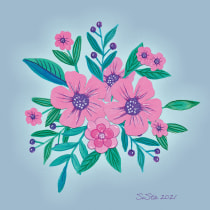 Mein Kursprojekt: Blumenmusterdesign und -illustration. A Illustration, Painting, Pattern Design, Drawing, and Botanical illustration project by Silvia Stangl - 08.23.2021