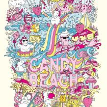 Candy Beach Doodle Illustration. Um projeto de Ilustração, Ilustração vetorial e Ilustração digital de Kira Bausch - 10.01.2021