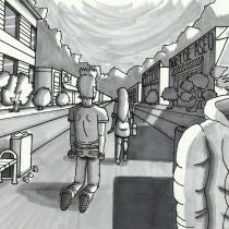 Escena: Un paseo por la ciudad. Mi Proyecto del curso: Fundamentos del dibujo de personas a partir de la imaginación   . A Illustration, Fine Art, Sketching, Pencil drawing, Drawing, Artistic drawing, and Figure drawing  project by Pablo Cornejo Mejías - 08.23.2021