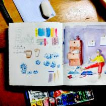 Mi Proyecto del curso: Sketchbook para explorar tu estilo de dibujo. Un progetto di Illustrazione, Bozzetti, Creatività, Disegno, Pittura ad acquerello, Sketchbook , e Pittura gouache di jane.klares - 18.09.2021