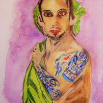 My project in Watercolor Portraits: Capture a Model's Personality course. A Fine Art, Painting, Watercolor Painting, Portrait illustration, and Portrait Drawing project by Gary Haddan - 09.24.2021