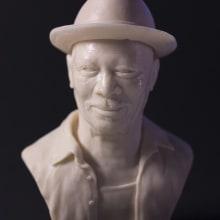 Busto miniatura 1/6 de Morgan Freeman. Un proyecto de Diseño de personajes, Escultura y Diseño de juguetes de Manuel Barroso Parejo - 22.04.2014
