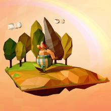 Low Poly - Obélix. Un proyecto de 3D y Diseño de personajes de Alejandro Bernatzky - 05.05.2014