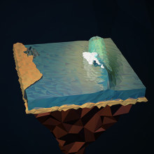 Surf Art 3D - LowPoly. Un proyecto de 3D y Paisajismo de Alejandro Bernatzky - 16.05.2014