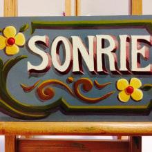 SONRIE ::: fileteado porteño ::: pintura. A Malerei project by Luciana Portillo - 06.08.2014