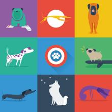 The League of Extraordinary Doggies. Un proyecto de Ilustración, Diseño de personajes y Diseño gráfico de Juanma Martínez - 16.08.2014