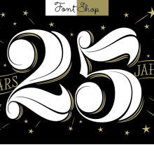 FontShop 25 años. A T, and pograph project by Martina Flor - 10.19.2014